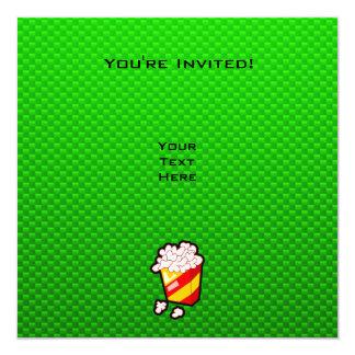 Pipoca verde convite quadrado 13.35 x 13.35cm