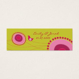 Pique flores pontilhadas e o Tag feliz do presente Cartão De Visitas Mini