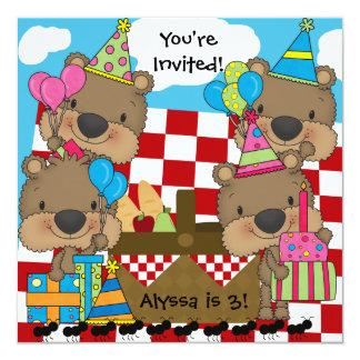 Piquenique com o convite do aniversário dos ursos