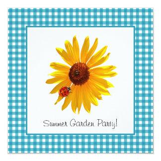 Piquenique do girassol do partido de jardim do convite quadrado 13.35 x 13.35cm