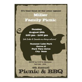 Piquenique e de Brown do CHURRASCO porco Convites Personalizados