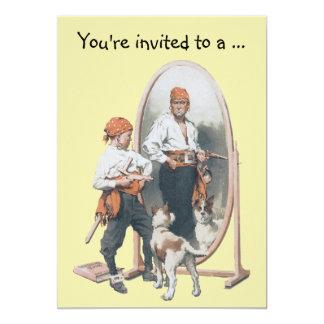 Pirata com cão, festa de aniversário do menino do convite 12.7 x 17.78cm