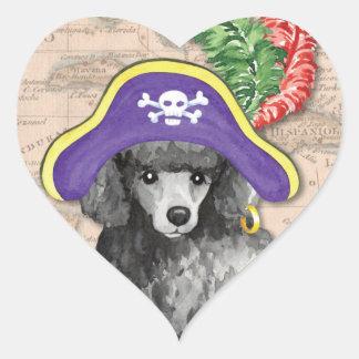Pirata da caniche diminuta adesivo coração