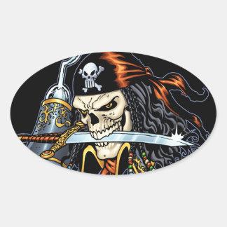 Pirata do crânio com espada e gancho pelo Al Rio Adesivo Oval