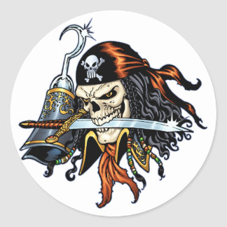 Pirata do crânio com espada e gancho pelo Al Rio Adesivo