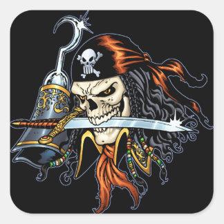 Pirata do crânio com espada e gancho pelo Al Rio Adesivo Quadrado
