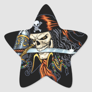 Pirata do crânio com espada e gancho pelo Al Rio Adesivos