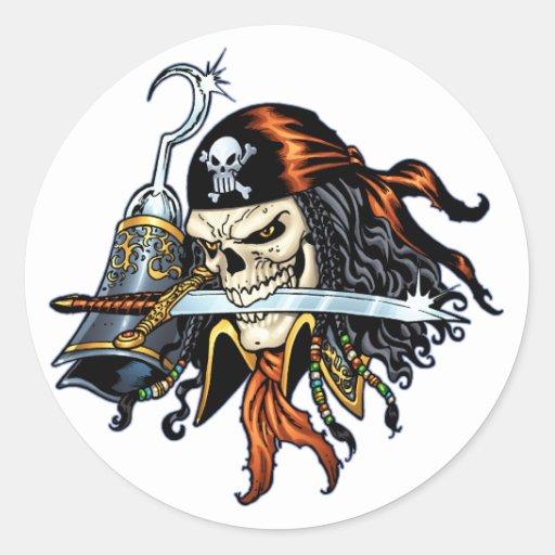 Pirata do crânio com espada e gancho pelo Al Rio Adesivo Em Formato Redondo