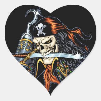 Pirata do crânio com espada e gancho pelo Al Rio Adesivos De Corações