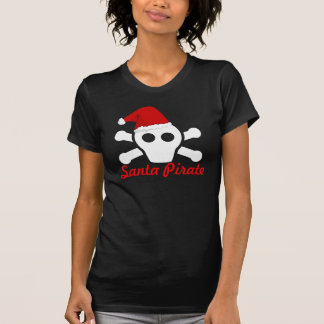 Pirata do papai noel - crânio bonito do pirata com camiseta