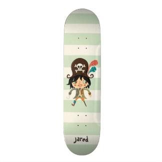 Pirata em listras verdes Pastel Shape De Skate 20cm