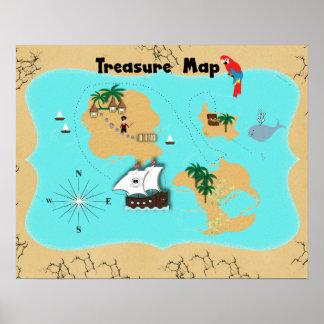 Piratas bonitos mapa escondido do tesouro para poster