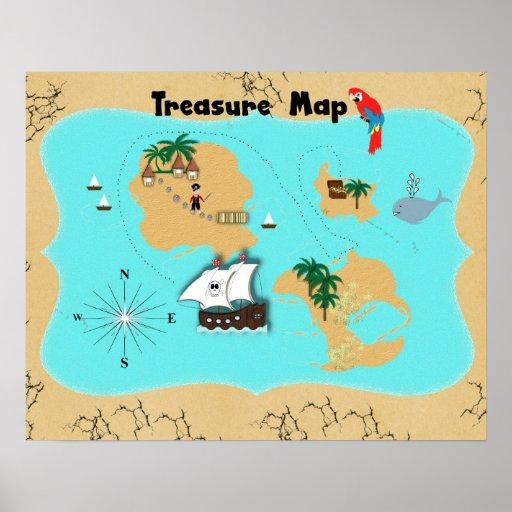 Piratas bonitos mapa escondido do tesouro para posteres