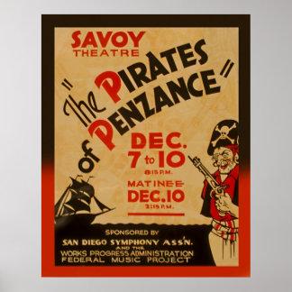 Piratas do poster 1938 de WPA do vintage de