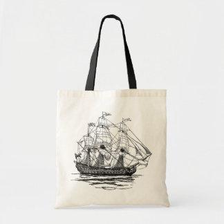 Piratas do vintage esboço de um navio de arma 74 bolsa para compras
