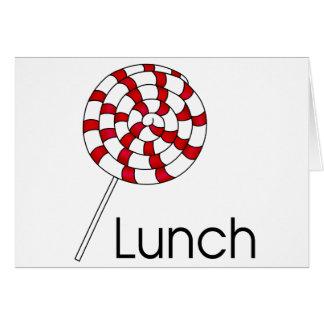 Pirulito do almoço cartão comemorativo