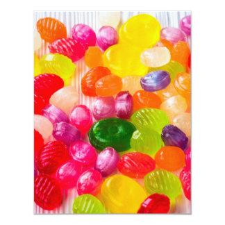 Pirulito doce colorido da comida dos doces convite 10.79 x 13.97cm