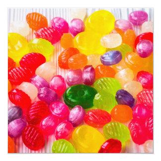 Pirulito doce colorido da comida dos doces convite quadrado 13.35 x 13.35cm