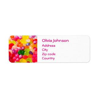 Pirulito doce colorido da comida dos doces etiqueta endereço de retorno