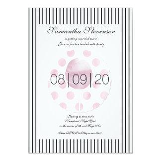 Pirulito listrado elegante BacheloretteInvitation Convite 12.7 X 17.78cm