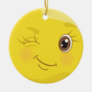 Pisc a namoradeira Emoji o ornamento amarelo do