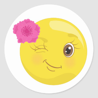 Piscar os olhos Emoji com etiquetas da flor