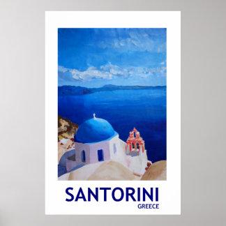 Piscina de Santorini - poster retro II do estilo