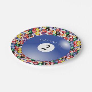 Piscina número contínuo dois do bilhar das bolas prato de papel