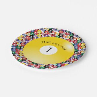 Piscina número contínuo um do bilhar das bolas prato de papel