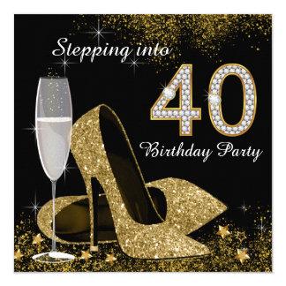 Piso na festa de aniversário 40 convite quadrado 13.35 x 13.35cm