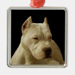 Pitbull branco Terrier Enfeite Para Arvore De Natal