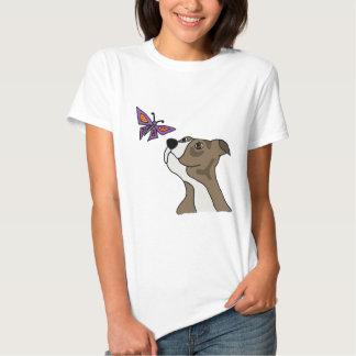 Pitbull cinzento e branco engraçado e borboleta camiseta
