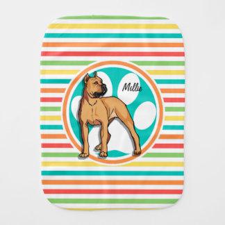 Pitbull de Brown Listras brilhantes do arco-íris Paninhos Para Bebês