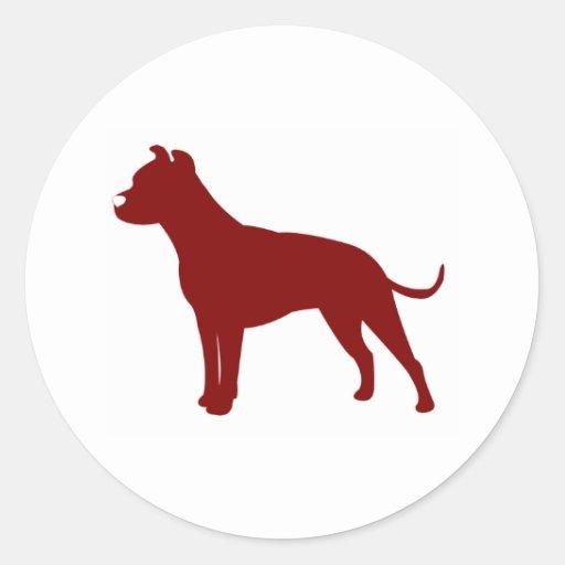 Pitbull (vermelho) adesivo redondo