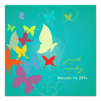 PixDezines By.Butterflies de vibração, multi cores Convite Quadrado 13.35 X 13.35cm