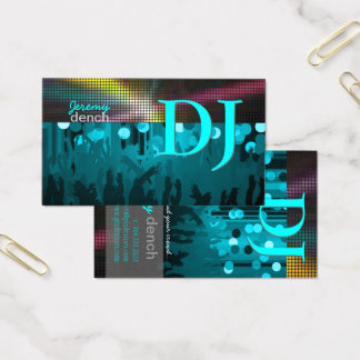 PixDezines DJ retro+salão de dança/azul do aqua Cartão De Visitas