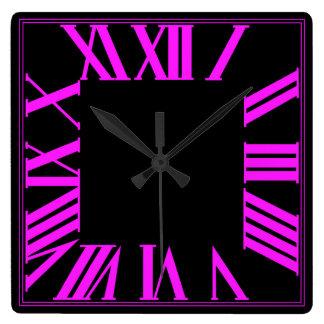 PixDezines Numeros romano cor-de-rosa fluorescente Relógios De Paredes