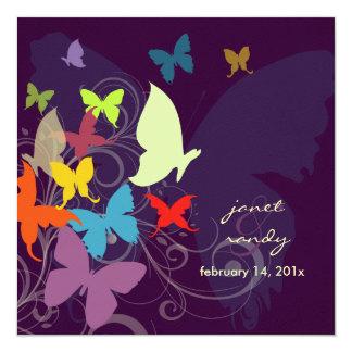 PixDezines que vibra perto, borboletas/ameixa Convite Quadrado 13.35 X 13.35cm