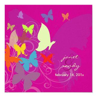 PixDezines que vibra perto, borboletas/fuschia Convites Personalizados
