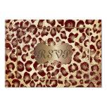 PixDezines RSVP, leopardo do vintage Convites Personalizados