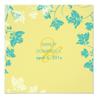 PixDezines tropical/amarelo+flores da cerceta Convites Personalizados