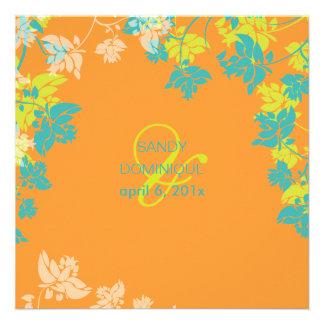 PixDezines tropical verde+flores da cerceta Convites Personalizados
