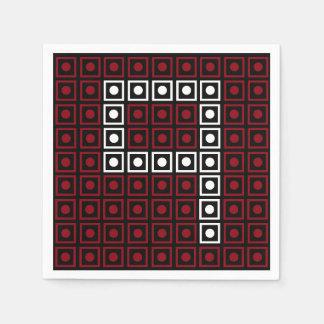 Pixel de 8 bits vermelho, branco & preto na moda guardanapo de papel
