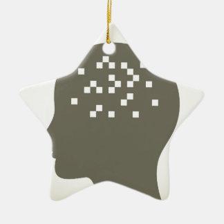 Pixel em uma cabeça ornamento de cerâmica