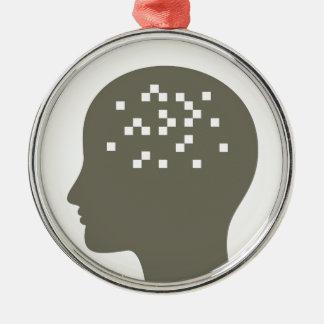 Pixel em uma cabeça ornamento de metal