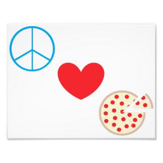 """Pizza 8,5"""" do amor da paz"""" arte da parede da impressão de foto"""