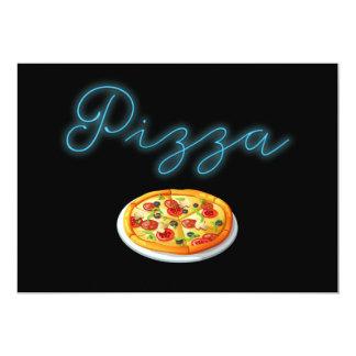 Pizza de néon do fulgor convite 12.7 x 17.78cm