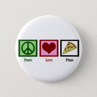 Pizza do amor da paz bóton redondo 5.08cm