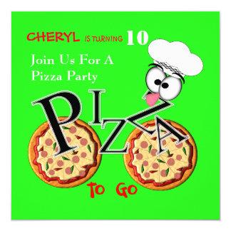 Pizza do divertimento a ir partido temático convite quadrado 13.35 x 13.35cm