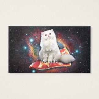 Pizza do gato do espaço cartão de visitas